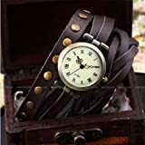 Ailisha Lady Women Wrap Around Bracelet Brown Long Leather Quartz Watch WAA341