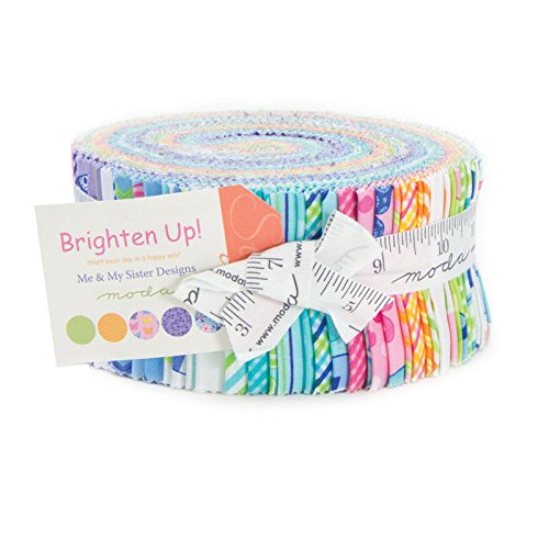 Brighten Up Moda Jelly Roll® By Me & My Sister Designs, Set of 40 2.5x44-inch (6.4x112cm) Precut Cotton Fabric Strips (Moda Jelly Rolls For Quilting compare prices)