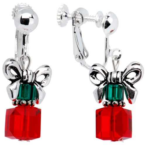Handcrafted Holiday Present Clip On Earrings Made with SWARIVSKI ELEMENTS