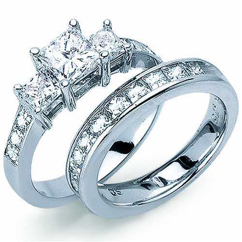 princess cut engagement ring set