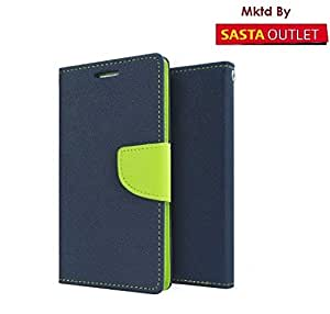 Samsung Galaxy Grand Quattro i8552 Mercury Flip Wallet Diary Card Case Cover (Blue&Green) By Wellcare