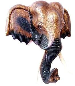 Elephant Head Thai Wood Carving Art Wall Home Decor Home Kitchen
