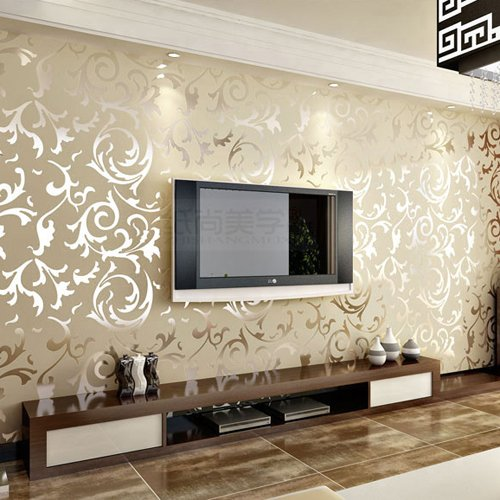Olivia Embossed Patter Surface Flocking Wallpaper Beige Color Damask Sand Shining Luxury 33 Ft X 1.74 Ft European Style Whitout Glue front-335014