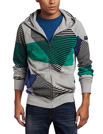 Volcom Men's Vacation Full Zip Hoodie, Heather Grey, Medium