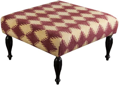 Surya FL1015-808045 Ottoman, 32 by 32 by 18-Inch, Butter/Burgundy