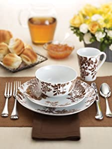 Paula Deen Signature Dinnerware Tatnall Street 4-Piece Dinnerware Place Setting, Coffee Bean