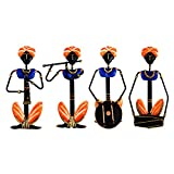 Dizionario Wrought Iron Rajasthan Musician Set of 4 Designed Handcrafted Decorative Wall Hanging 16x32cm