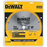 DEWALT DW3128 Series 20 12-Inch 80 Tooth ATB Thin Kerf Crosscutting Miter Saw Blade with 1-Inch Arbor (Color: Yellow, Tamaño: 12