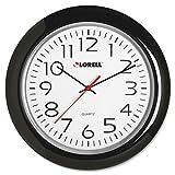 Lorell 60989 Wall Clock 13-1/4 Arabic Numerals Black Frame
