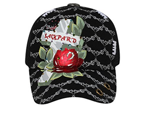 Hats & Caps Shop Metallic Printed Cross & Rose with Rhinestones Mesh Back Caps - By TheTargetBuys