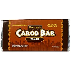 Goldie's Premium Carob Bars, Plain, 3-Ounce Bars (Pack of 12)