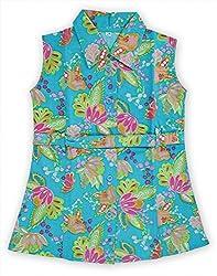 RANGREJA Hawain Floral Dress for Girls blue