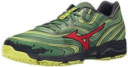 Mizuno Men\'s Wave Kazan Trail Running Shoe, Mint/Chinese Red, 14 D US