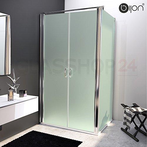 bijon® Design Glas Eckdusche mit Pendeltür | Nano | Mattglas | 100 x 195cm + Seitenwand 70 x 195cm