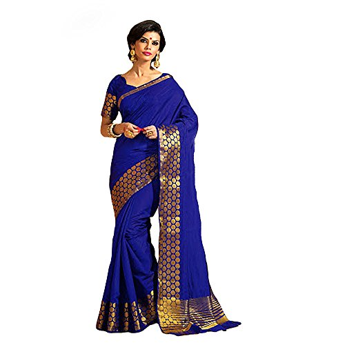 Shree Designer Sarees Women's Honoured Blue Kanchipuram Silk Saree