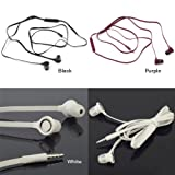 Generic 3.5mm Line Earphone Headphones with Micphone Flat Cable Design Fit for HTC (Black)