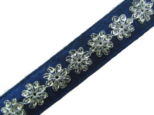 1 Y Thin Blue Base Silver Sequin Ribbon Trim Sewing Lace Craft New