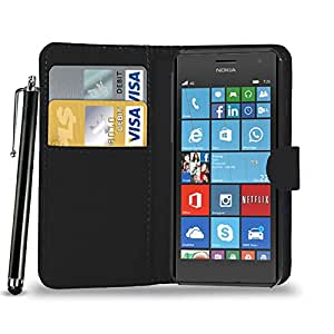 GBOS NOKIA LUMIA 730 LEATHER WALLET BOOK FLIP CASE COVER POUCH CARD & CASH SLOT WITH TOUCH STYLUS PEN BLACK