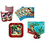Jake and the Neverland Pirates Birthday Party Supplies Set Plates Napkins Cups Kit for 16 Plus Tablecover