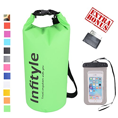 Waterproof Dry Bags - Floating Compression Shove Sacks Gear Backpacks for Fishing Boating Kayaking Canoeing Snowboarding - Free Universal Water Proof Phone Circumstance and Pocket Tool (Green, 10L)