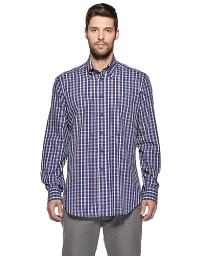 Camicissima Camicia Slim Fit Quadri Button Down [Blu/Rosso]