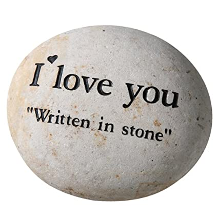I Love You Written In Stone Home or Garden Accent