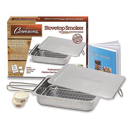 Stovetop Smoker - The Original Camerons Stainless Steel Smoker with Wood Chips and 160 Page Cookbook - For Grill or Oven (Oven Top Smoker compare prices)