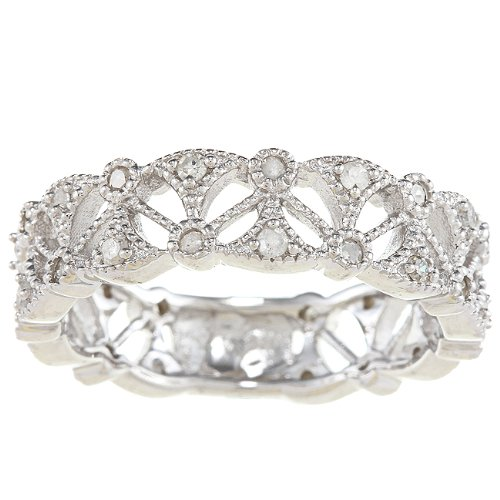 Sterling Silver 1/2ct Vintage Style Diamond Eternity Band (G-H, I2)
