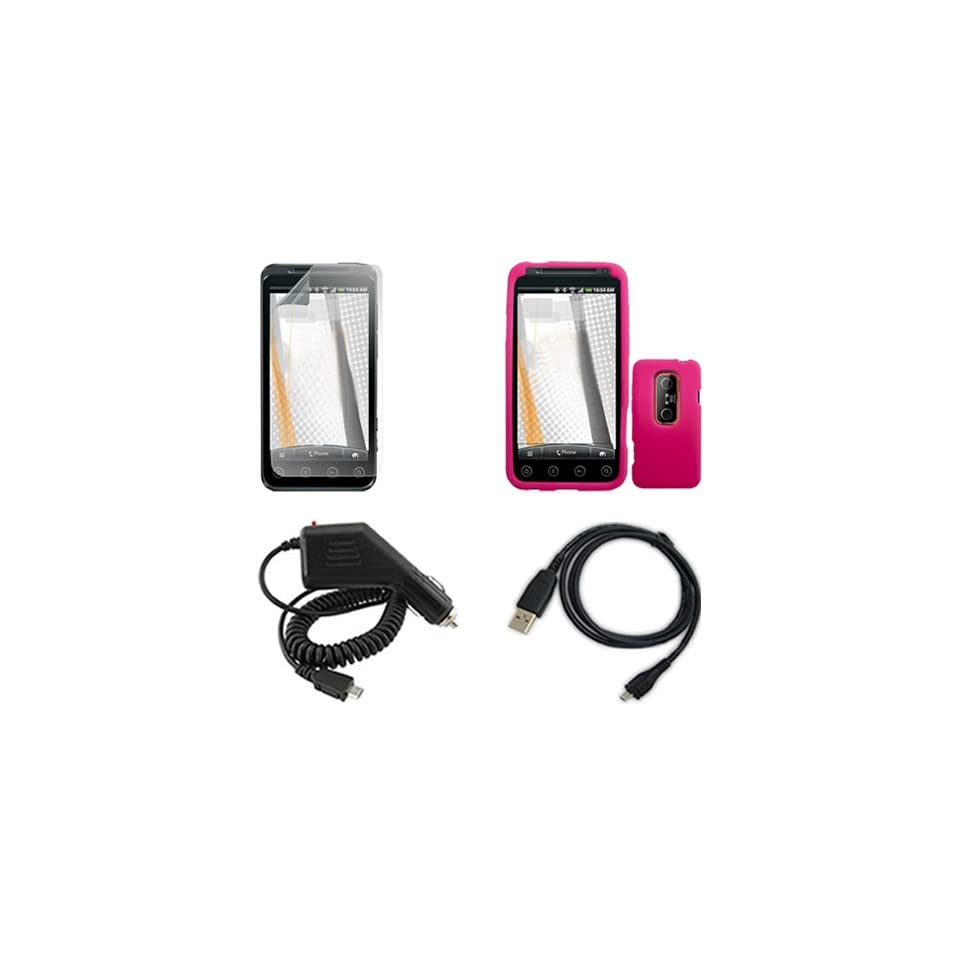 3D Combo Solid Hot Pink Silicone Skin Case Faceplate Cover + Rapid Car