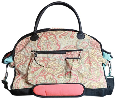 sassy-caddy-womens-groovy-fitness-tote-bag-coral-light-blue-taupe