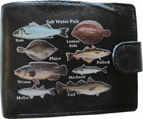 Saltwater Fish Fishermans Sea Anglers Black Soft Leather Wallet Printed Picture