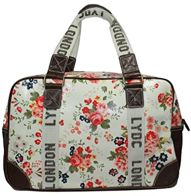 Zoe Retro Floral Print Laminate Large Weekend Bag in Beige -- SwankySwans
