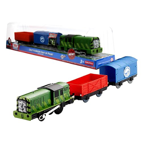 Fisher Price Year 2012 Thomas and Friends Greatest Moments Series Trackmaster Motorized Railway Battery Powered Tank Engine 3 Pack Train Set - SALTY'S GREEN COAT OF PAINT with Salty Green Engine, Blue Fish Van and Red Truck