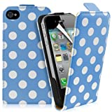 Supergets® Apple iPhone 4 / 4S Polka Dot Top Flip Case Covers, Screen Protector And Polishing Cloth ( Light Blue )