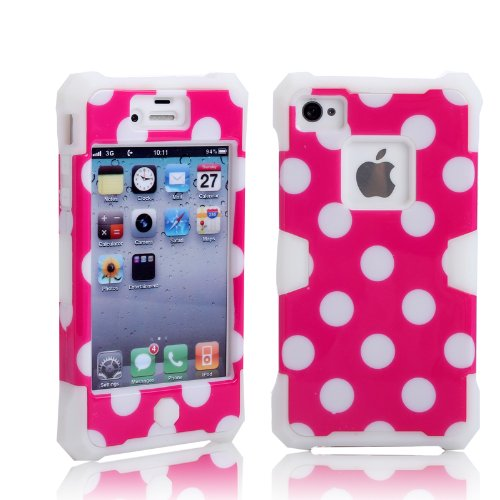 Magicsky Plastic + Silicone Hybrid Polka Dot Pattern Active Glow Case For Apple Iphone 4 4S 4G - 1 Pack - Retail Packaging - White/Hot Pink