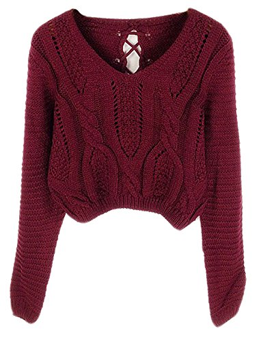 PrettyGuide Women's Long Sleeve Eyelet Cable Lace Up Crop Top Burgundy XS