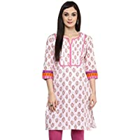 Rangmanch By Pantaloons Women's Cotton Kurta (205000005573802_White_Large)