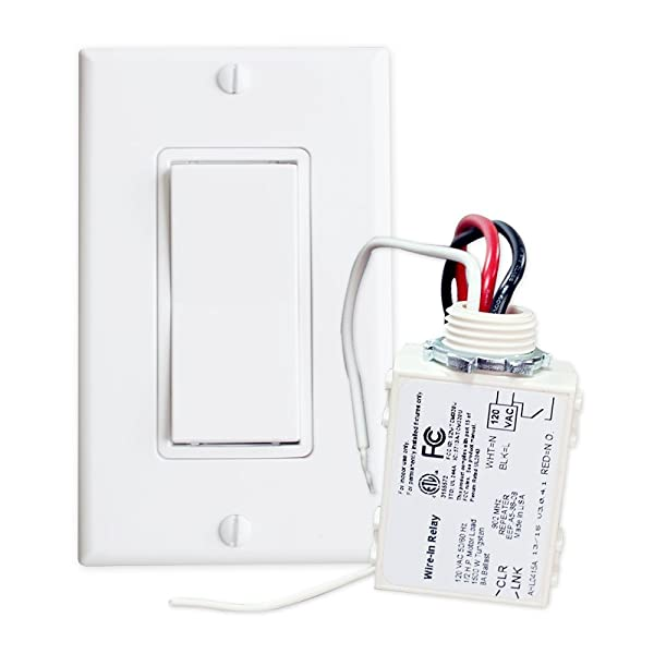 RunLessWire Simple Wireless Switch Kit, Self-Powered Rocker Switch, No Wire Light Control Kit (Color: White, Tamaño: 4 x 4 x 4 in)