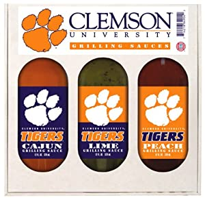 Clemson Tigers Ncaa Grilling Gift Set 12oz Cajun 12oz Lime 12oz Peach by Hot Sauce Harry's
