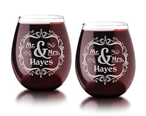 Set of TWO Personalized Mr and Mrs Stemless Glass Newlywed, Wedding, Glasses for Bride Groom, Wife Husband, Party, Anniversary, Engagement Gift