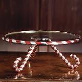 CANDY CANE GLASS CAKE PLATE SERVER