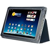 Navitech Schwarze Executive Echte Premium Leder Flip Trage Tasche mit Einstellbarem Ständer für das neue Medion Lifetab E10320 10,1 Zoll Internet Tablet