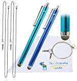 The Friendly Swede (TM) 2 Pack of Micro-Knit Hybrid Fiber Tip Capacitive Stylus Pens 5.2
