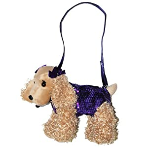 Poochie & Co. Girl's Plush Sequin Puppy Purse-colors May Vary from Confetti