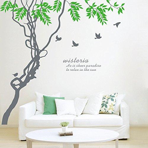 ufengke-Extra-gro-Grne-Baum-Und-Silber-graue-Vgel-Wandsticker-Wohnzimmer-Schlafzimmer-Entfernbare-Wandtattoos-Wandbilder