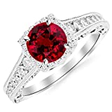 1.5 Carat Designer Halo Channel Set Round Diamond Engagement Ring with Milgrain 14K Gold with a 0.75 Carat Round Cut AA Quality Ruby
