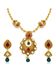 Sukkhi Traditionally Antique Gold Plated Kundan Necklace Set