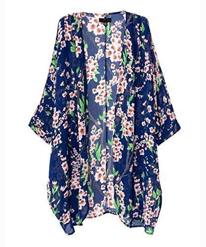 Mixmax Women Flowy Sheer Crop Sleeves Loose Chiffon Kimono