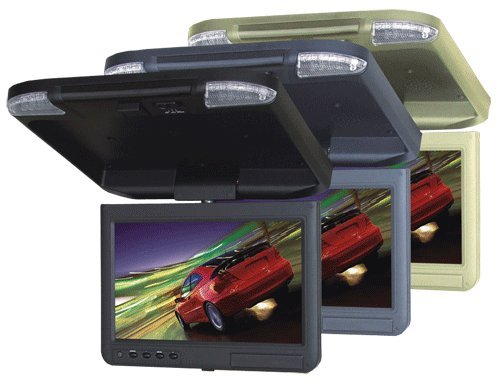 Absolute Pfl1000Irc 10-Inch Tft-Lcd Overhead Flip-Down Monitor With Built-In Ir Transmitter And Remote (Cream)