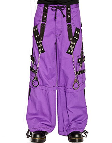 Tripp Gothic Techno Rave Cyber Goth Zip Off Baggy Purple Black Jeans Pants (L)